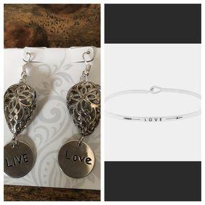 Jewelry - LIVE LOVE ❤️ bracelet & earring set silver boho